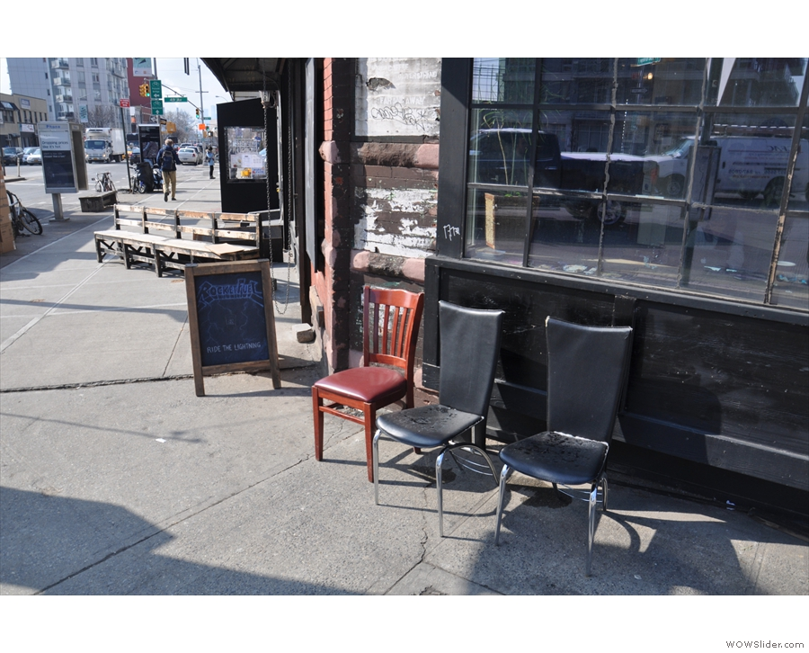 Sweetleaf's outside seating, both on Jackson Ave & on 11th St, looking good in the sun.