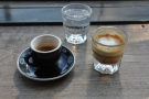 I had a split shot: single espresso & cortado, with a glass of sparkling water, naturally.