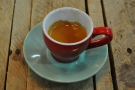 My lovely espresso in a mismatched cup.