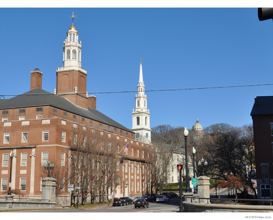 Providence has this thing about steeples/towers: the First Baptist Church is the middle one.
