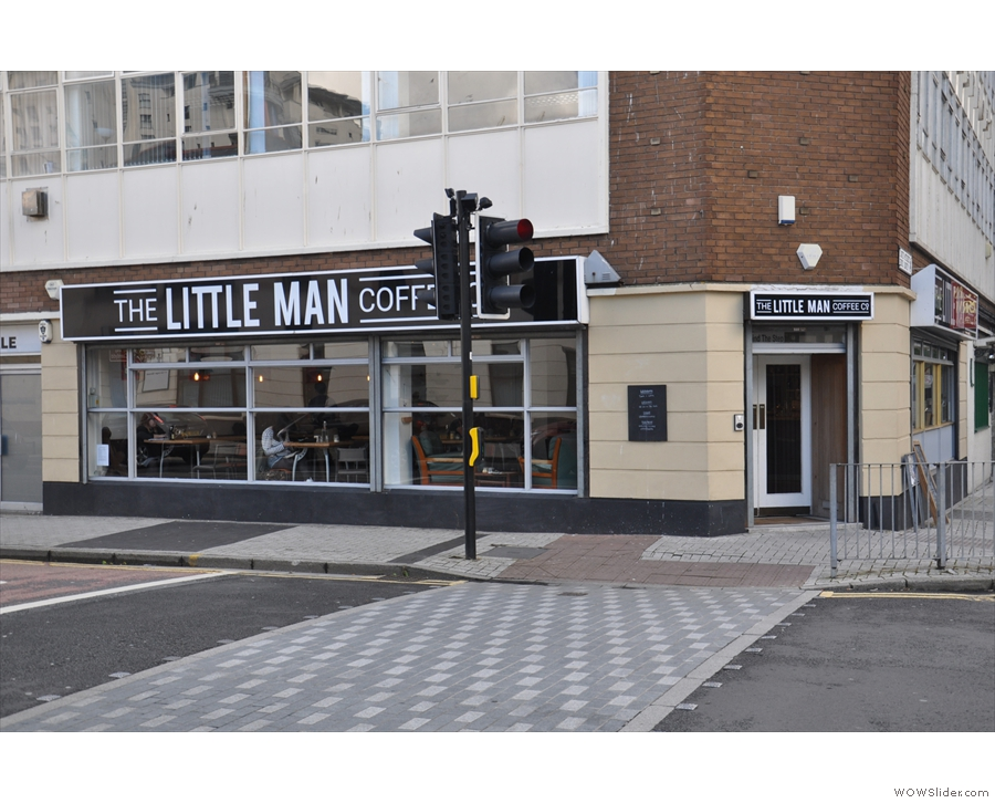 The Little Man Coffee Company on the corner of Bridge St & David St (Bridge St view).