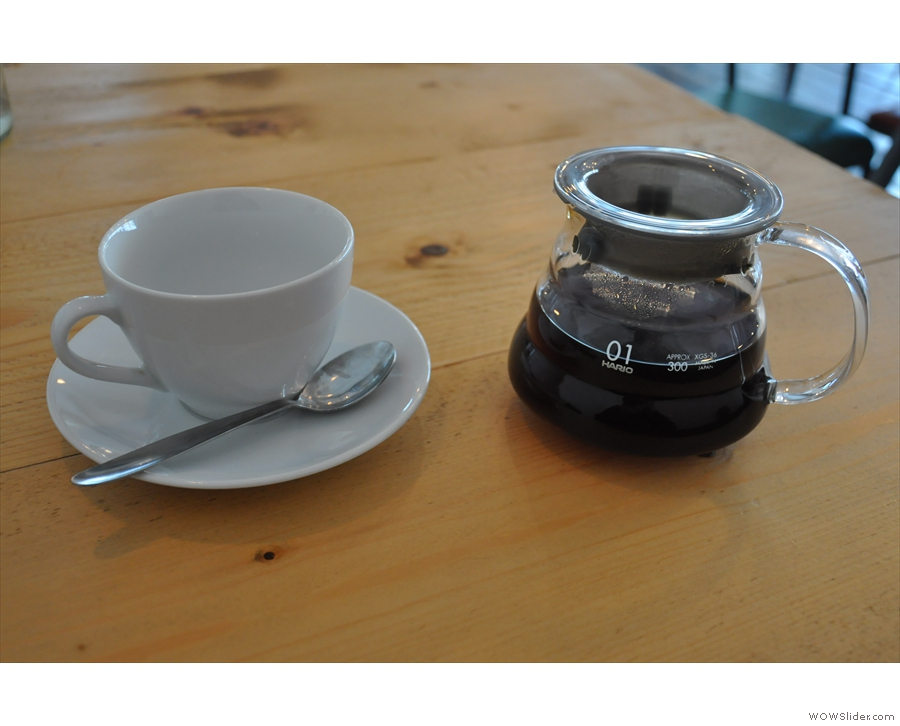 I went for a Nicaraguan from a local roaster, Lufkin, through the V60, served in a carafe.