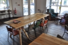 This large, communal table kind of acts as a barrier...