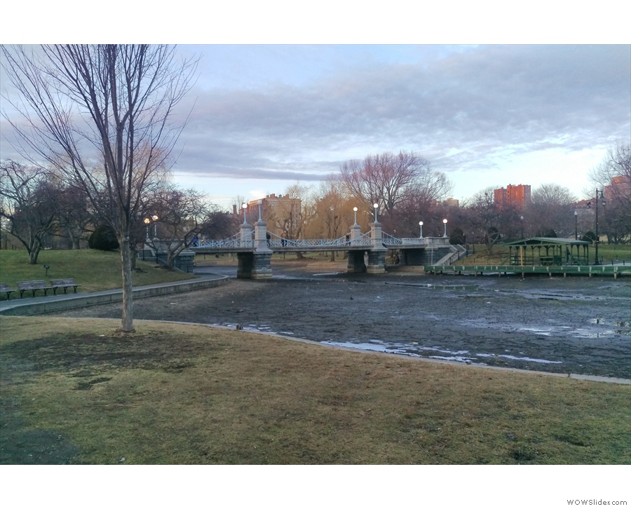 The pond is drained in the winter to stop it freezing, giving the park a bleak elegance.