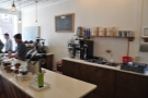 The counter, seen from the back. Max is hard at work, Drew's by the window.