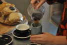 It gets the thumbs up and the coffee is poured from carafe to jug.