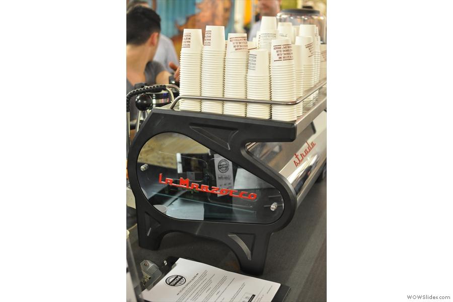 And finally, a gratuitous picture of the shiny La Marzocco Strada espresso machine.