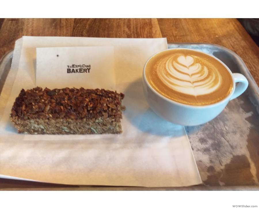 Of course, I couldn't resist. I had a slice of the seeded flapjack & a flat white...