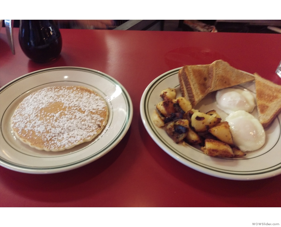 The breakfast menu's the same, as was my choice: eggs, home fries, toast & a griddle cake.