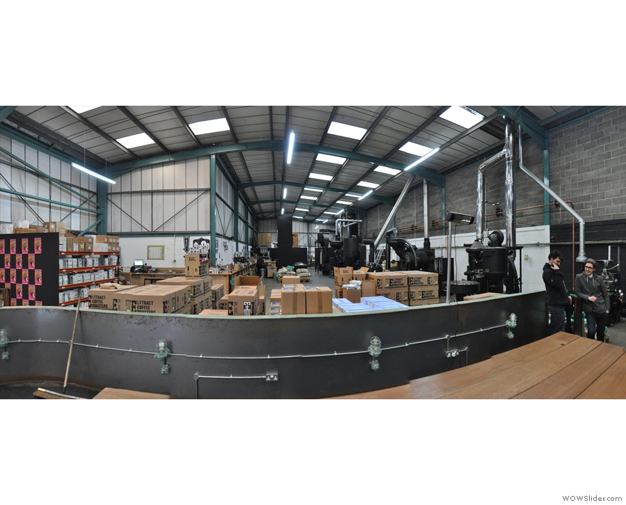A panoramic view from just inside the door: it's one of the biggest roasters I've been to!