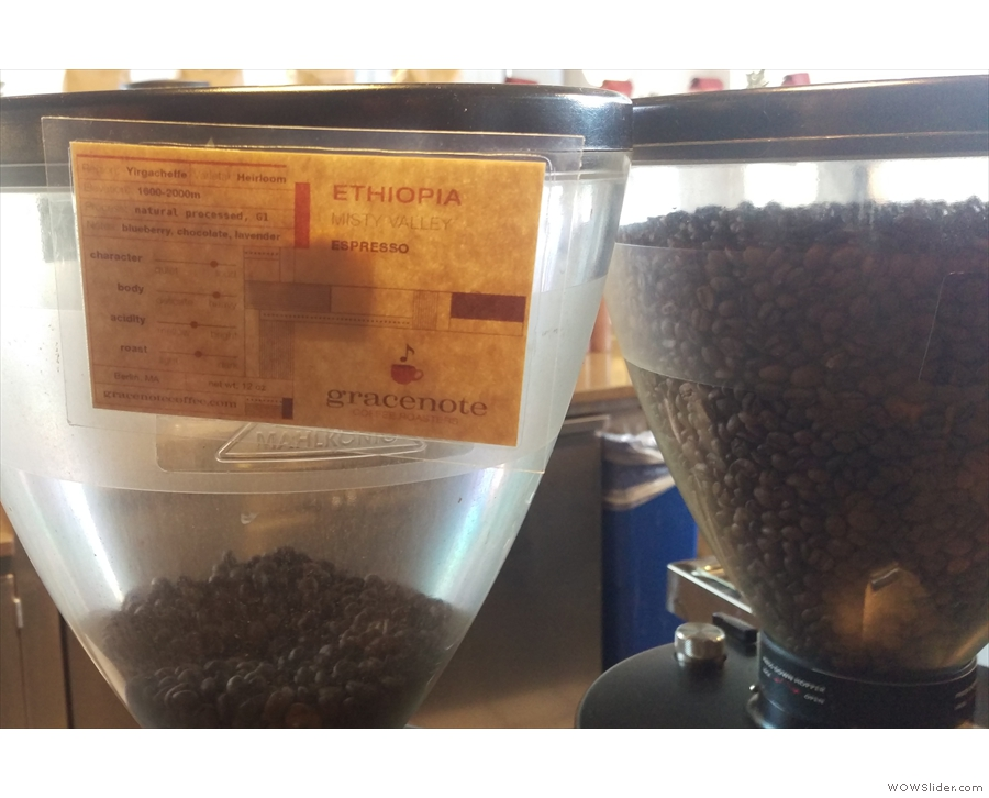 ... and there's an Ethiopian single-origin on the second grinder.