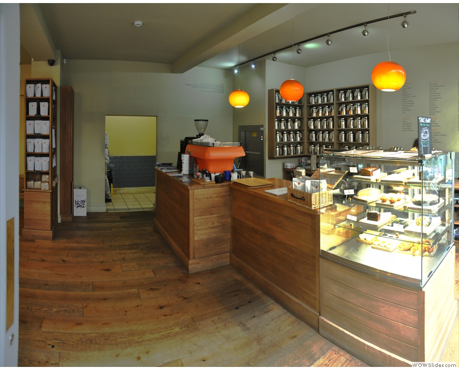 Stepping inside, you arrive at the counter, which is at the right-hand end of Wyndham Tea.
