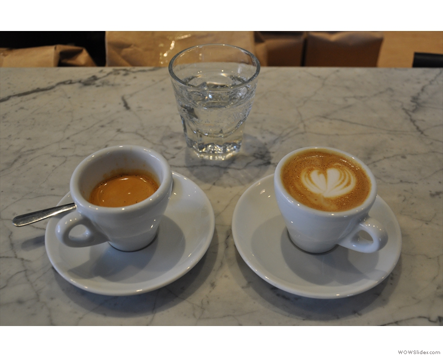 Of course, I couldn't resist the 'One of Everything'. Here's my espresso and machiatto...