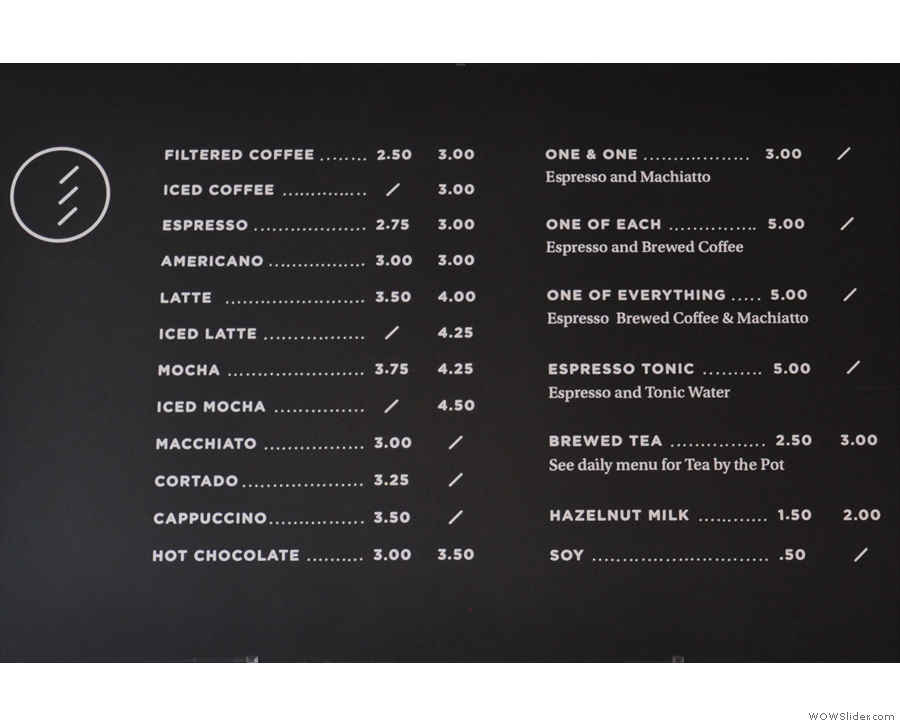 It's an interesting menu: one & one, one of each, one of everything. Coffee geek heaven!