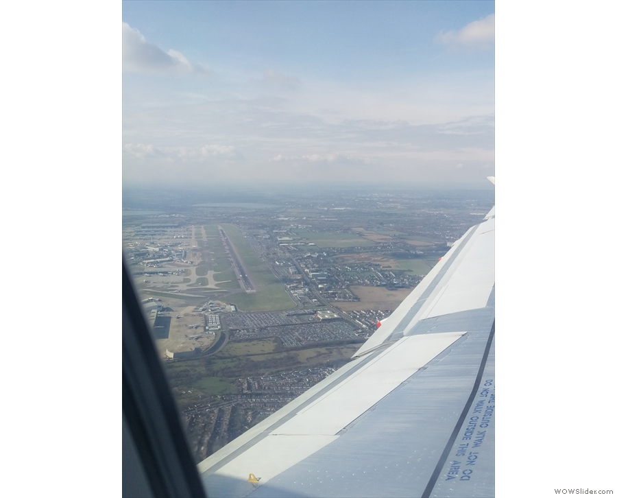 Heathrow, north runway, seen from the east (we took off from the south runway).