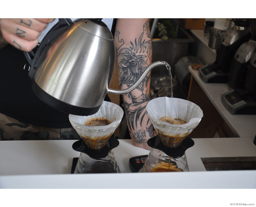 At the other end of the counter, you'll find the filter coffee with its own set of grinders.