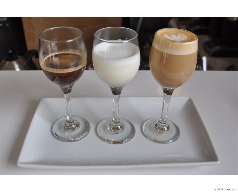 I had the curated tasting flight, which included this deconstructed espresso + milk...
