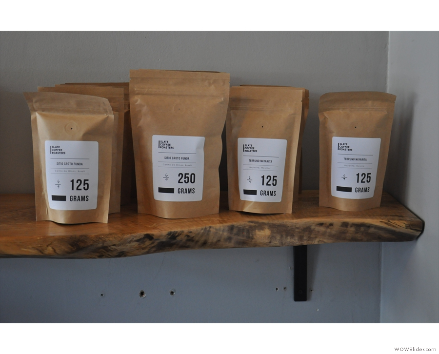 Slate roasts all its own coffee, which (interestingly for the US) is sold in grams.