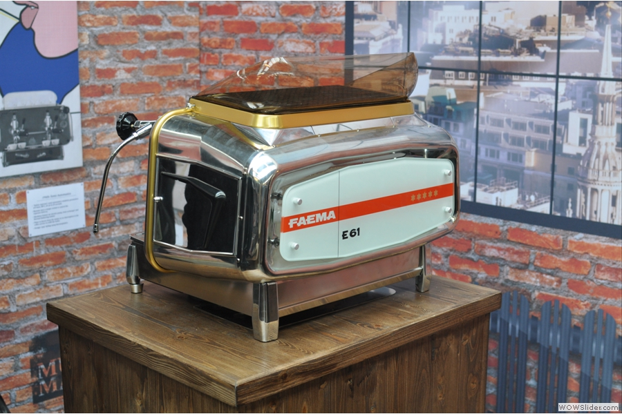 The 1961 Faema E61. Cimbali bought the rival Faema company in the 90s.