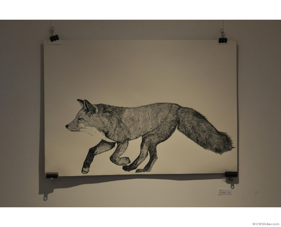 This running fox is from the Foxes Den upstairs. Like most of the art, it is for sale.