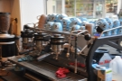 The business end of The Crazy Fox, Part II: a three-group La Marzocco Strada.