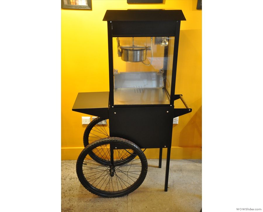 This, by the way, is a mobile popcorn maker/stand. Appropriate, really.