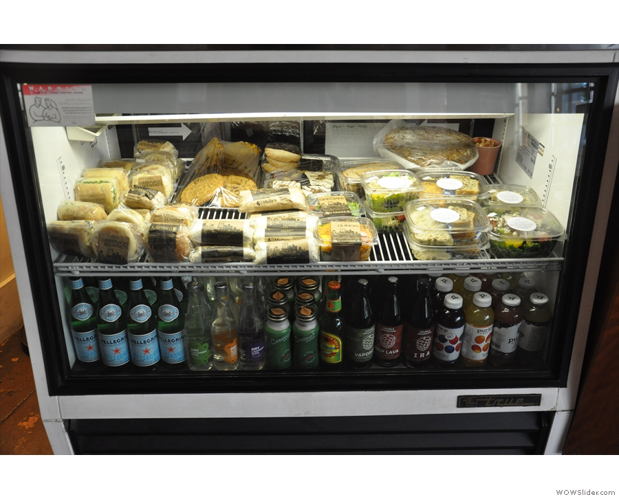 Hungry? There's a well-stocked fridge. And that not-coffee stuff the A-board mentioned.