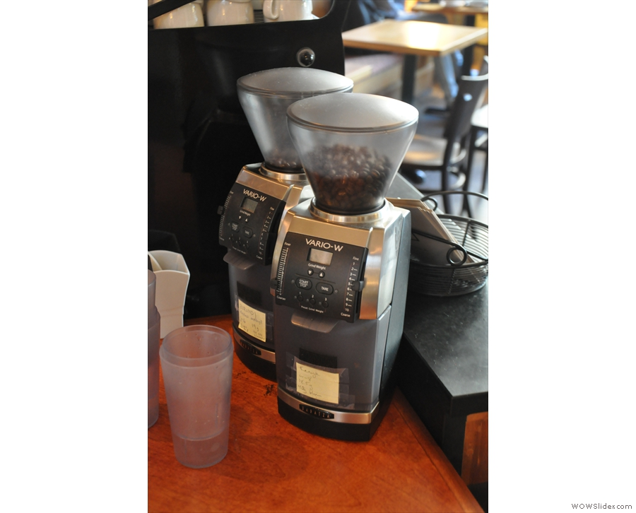 ... while the pour-over grinders are on the right...