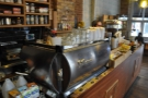 The far end of the counter is the preserve of the espresso machine...