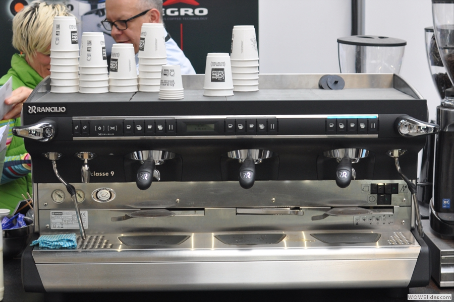 Taking about too big for my kitchen, this classe 9 from Rancilio probably wouldn't fit in the space where my little Silvia sits...
