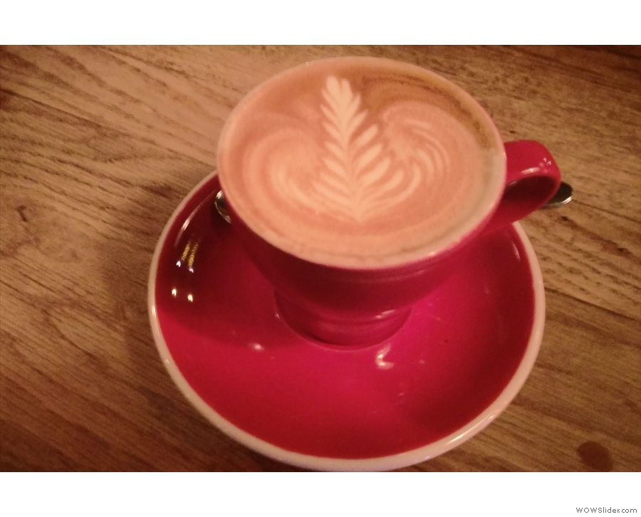 A decaf flat white from January, looking slightly blurry in the subdued late evening light...