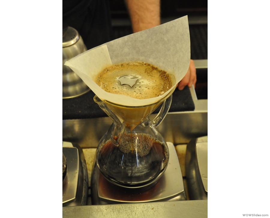 My Chemex, busily filtering away.