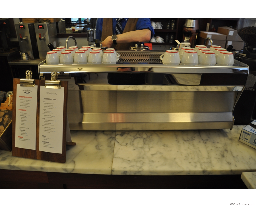 Talking of the counter, the espresso machine is to the right...