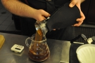 ... it's poured into a carafe through a filter in the Solo's lid.