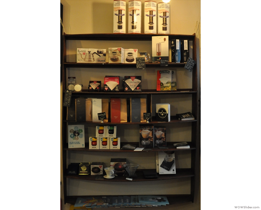 Between the addicts' board and the door is this set of retail shelves.