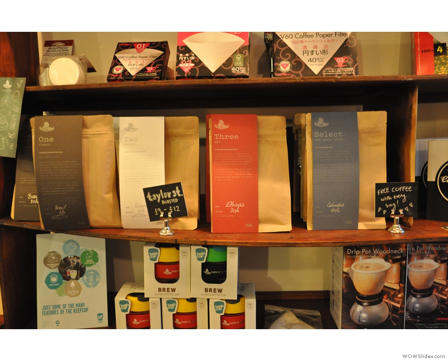There are bags of Taylor Street coffee for sale...