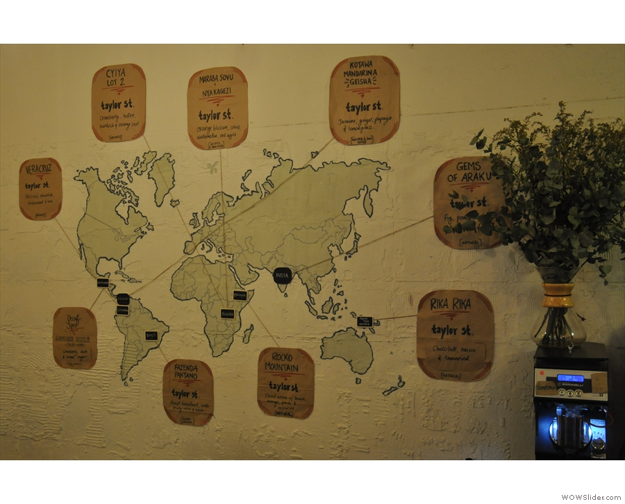 Taylor Street roasts all its own coffee for the Gallery. Details are on the wall!
