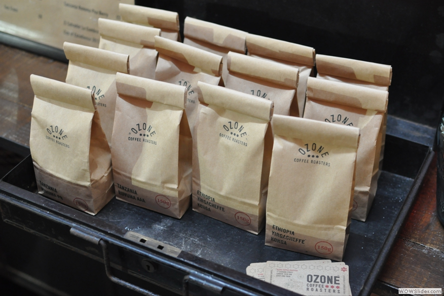 ... while there were bags of single-origin beans for sale.