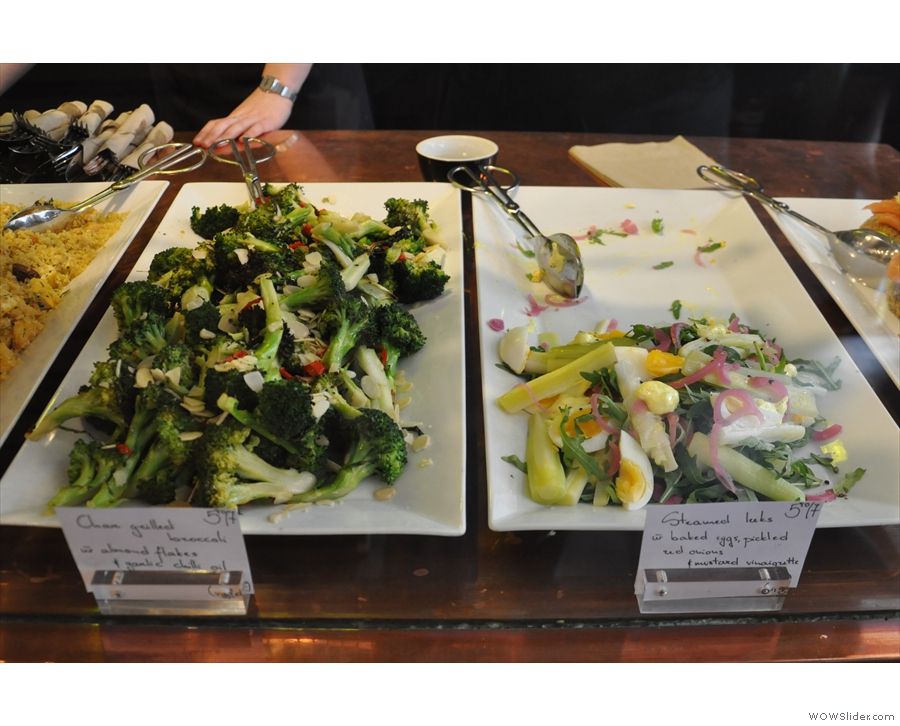 There's a choice of three salads: you can have one, two, or a mix of all three if you like.