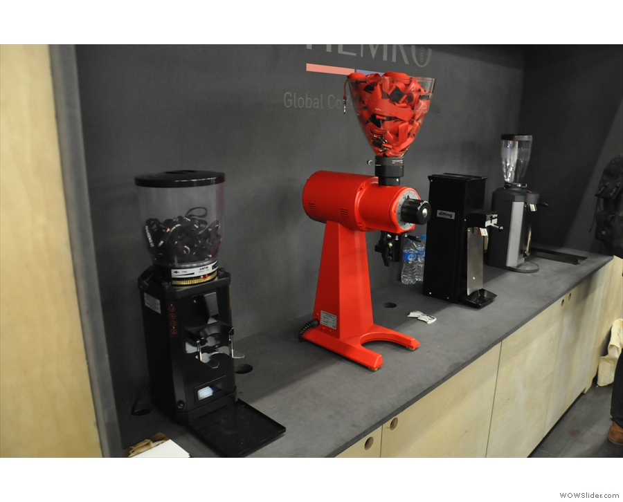 The Mahlkönig stand, with lots of grinders, includng the ubiquitous EK43 (the big red one).