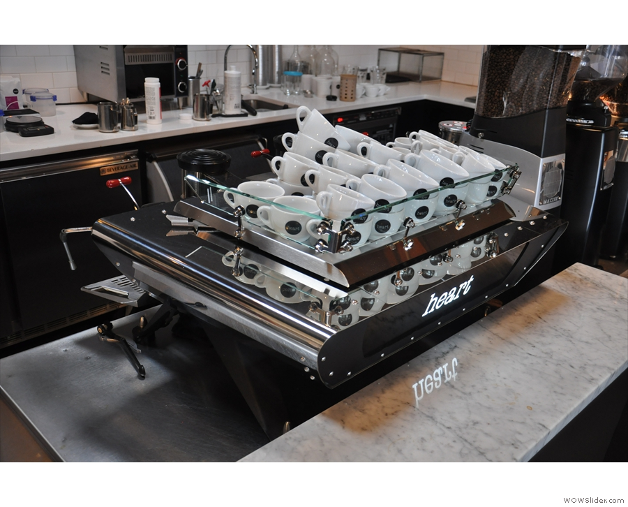 Next comes the sleek lines of the Kees van der Westen espresso machine...