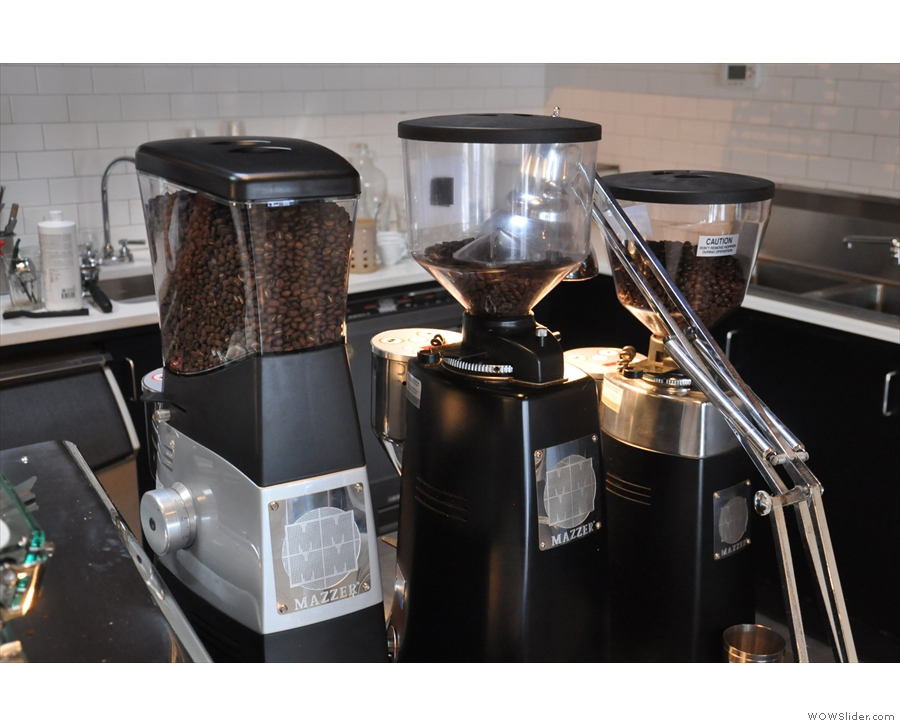 ... followed by its three grinders for house-blend, single-origin and decaf.