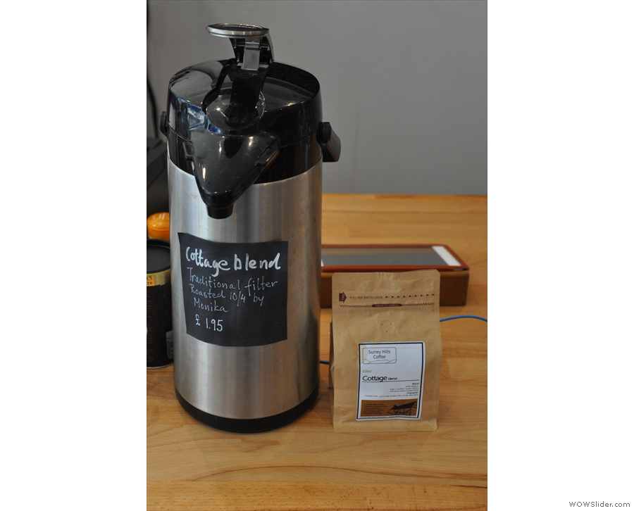 ... and available from the flask on the counter. This is usually Surrey Hills' Cottage blend.