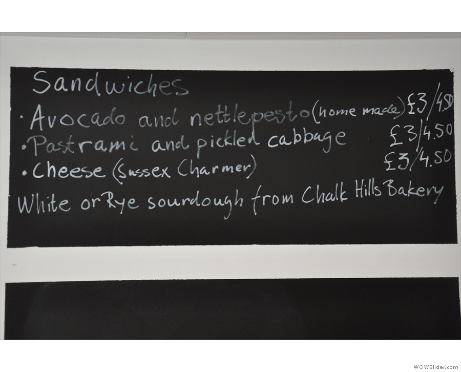 There's also a selection of made-to-order sandwiches...