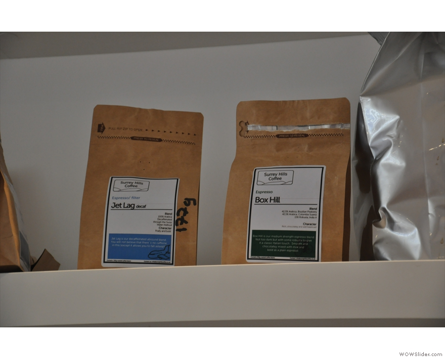 The beans behind the counter are for use in the shop: here's the decaf & an espresso blend.