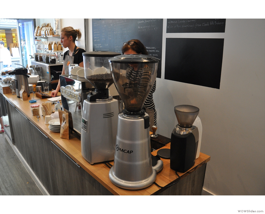 ... and the espresso machine and various grinders at the back.