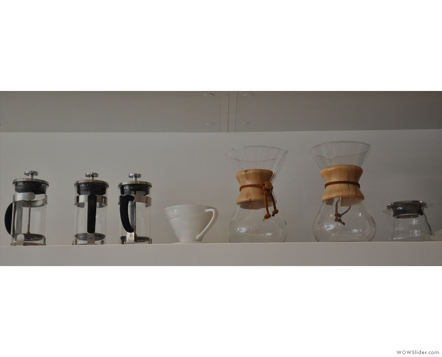 There's a range of other filter methods, although at the moment, only the Chemex is on offer.