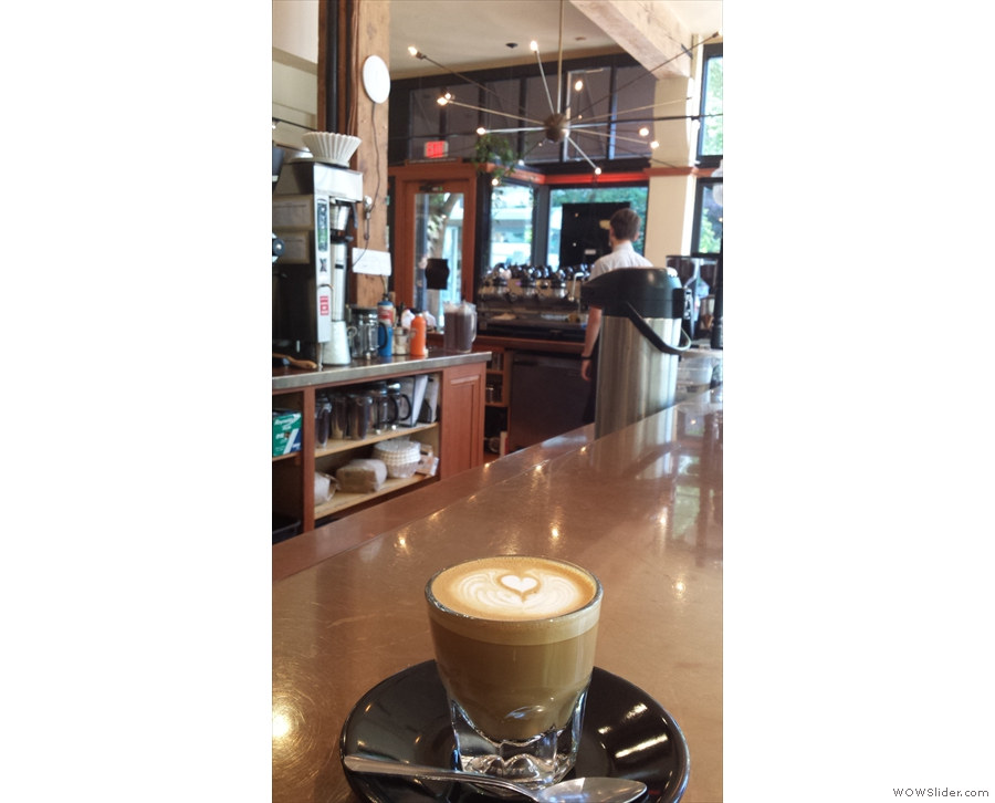 My cortado eyes up the counter and the espresso machine.