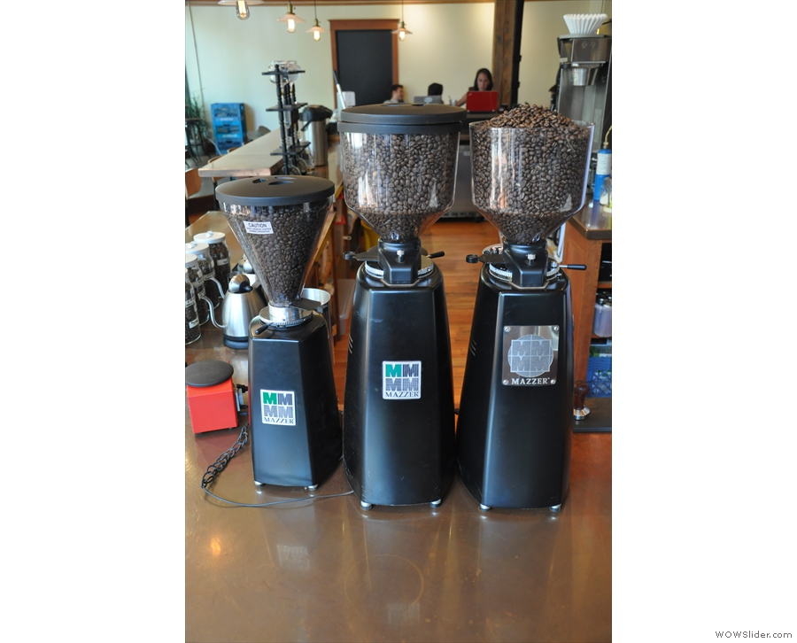 ... with its three grinders (right-to-left: house-blend, single-origin and decaf).
