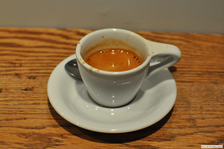 Finally, down to business, my lovely espresso in a cup with a nice, big handle.
